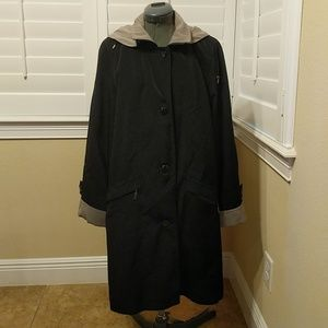Black and Tan Hooded Raincoat with Removable Liner